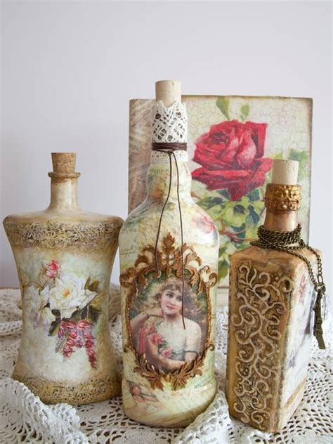 Decoupage Glass Jars - 636 best images about decoupage bottles on