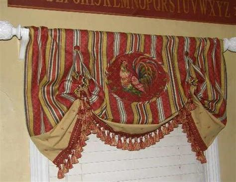 Rooster Valance Custom Balloon Valance Waverly Fabric Toile Stripe Rooster