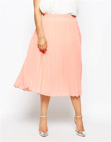 asos curve pleated midi skirt in pink lyst