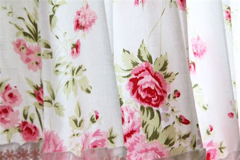 ashwell shabby chic wildflower roses shabby country chic ruffled wildflower pink white kitchen curtain valance