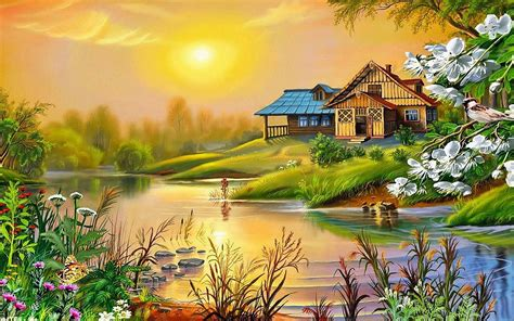 spring sun house river bird blossoming trees