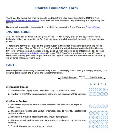 Class Evaluation Letter Course Evaluation Forms Sle 8 Free Exles Format