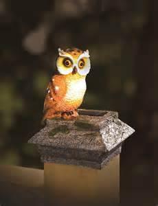 owl solar lights whimsical solar fence deck post cap buddy mr owl ebay