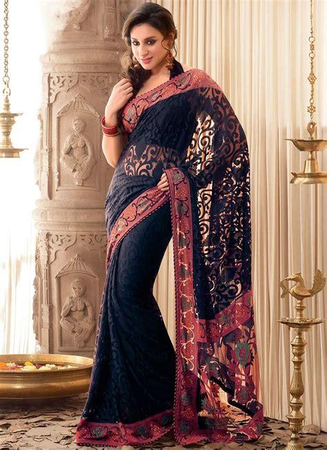 Baju Blouse 7g Likkhe Black stylish black net saree