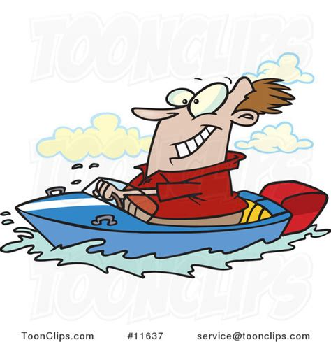 cartoon boat motor cartoon happy guy driving a motor boat on a lake 11637 by