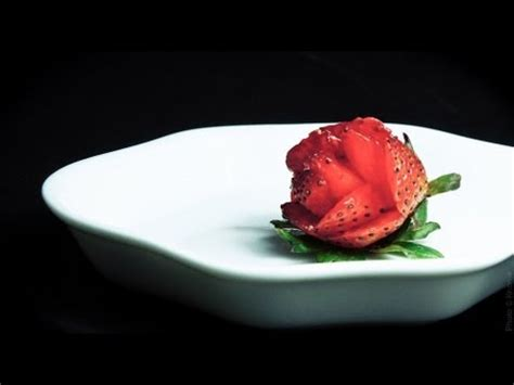 How To Slice Strawberries For Decoration by Chef David J Alvarez Cutting Strawberries Into Flowers