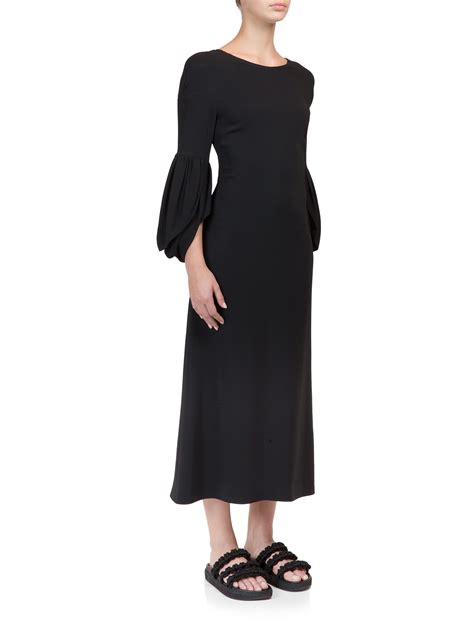 Balloon Sleeved Dresses For Black Tie And Play by Rocha Backless Balloon Sleeve Midi Dress In Black