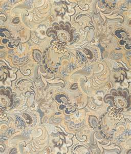 Upholstery Fabric Automotive Beige Gold And Dark Blue Large Intricate Floral And