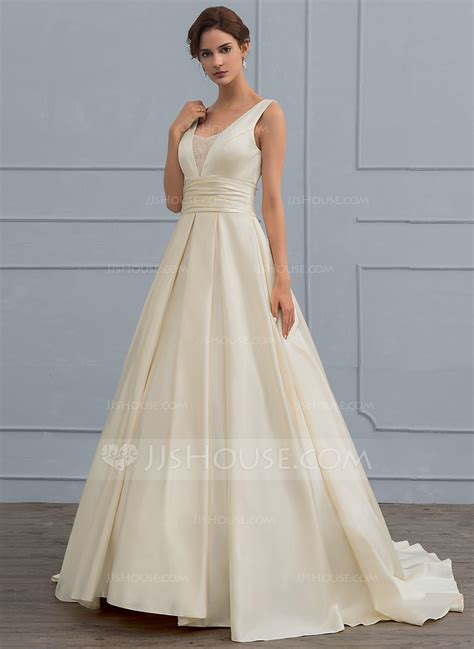 Wedding Dresses V Neck by Gown V Neck Sweep Satin Wedding Dress With Lace