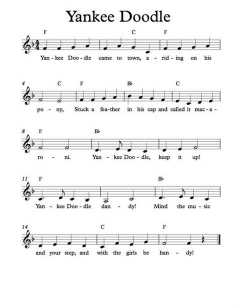 free lagu musical doodle free sheet for yankee doodle children s song enjoy