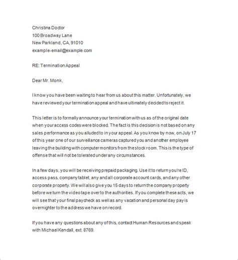 termination letter template without notice termination notices 12 free sles exles format