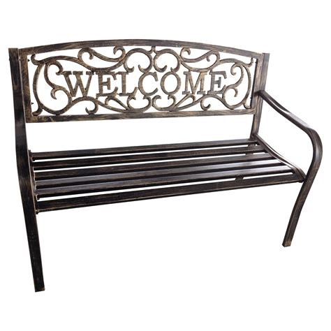welcome metal 4 ft curved back garden bench antique