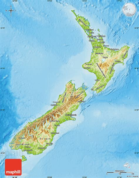 new zealand physical map physical map of new zealand