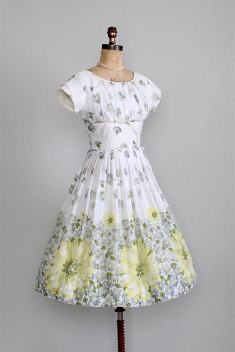 Garden Dresses For Of The Vintage 1960s Dress 50s 60s Floral Daisies Garden