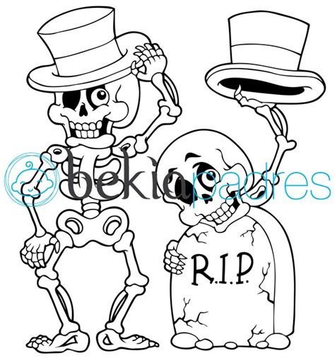 imagenes de halloween tumbas esqueletos con sombrero en la tumba dibujo para colorear