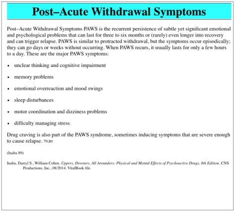 Paws Detox by Post Acute Withdrawal Causes Symptoms Treatment