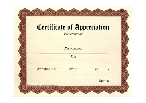 template certificate of appreciation certificate of appreciation template word