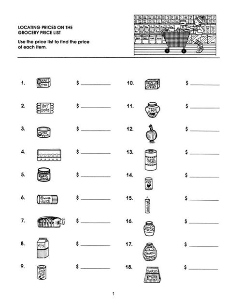 Beginners Math Worksheets by Market Math Worksheets Market Math For Beginners
