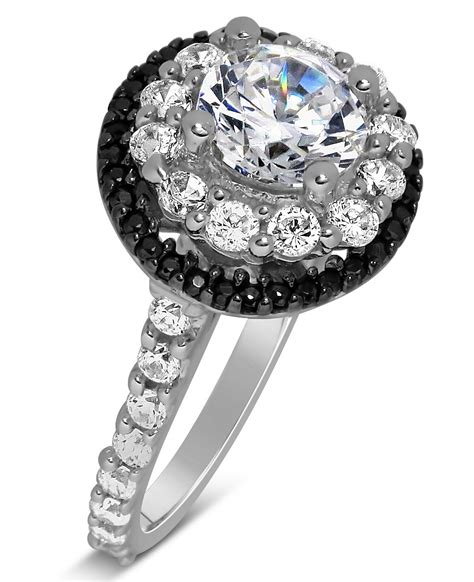 1 Carat Black Engagement Ring by Luxurious 1 Carat Black And White Halo