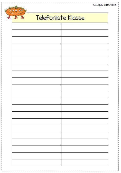 cuaderno de notas del profesor profe tic telefonliste vorlage zum ausdrucken kostenlos vorlagen