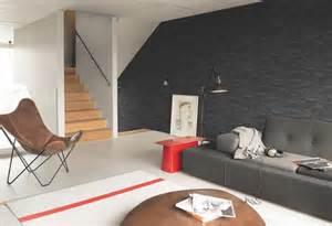 Wonderful Salon Gris Noir Blanc #8: Papier-peint-imitation-pierre-parement-grise.jpg