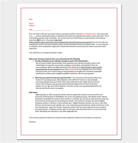 temporary appointment letter sle temporary appointment letter 11 for word and pdf format