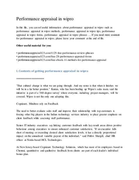 Appraisal Letter Format India performance appraisal in wipro