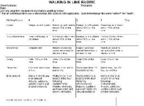 Free Mobility Rubric Walking In Line Activity Analysis For Increased Documentation Ot Activity Analysis Occupational Therapy Template