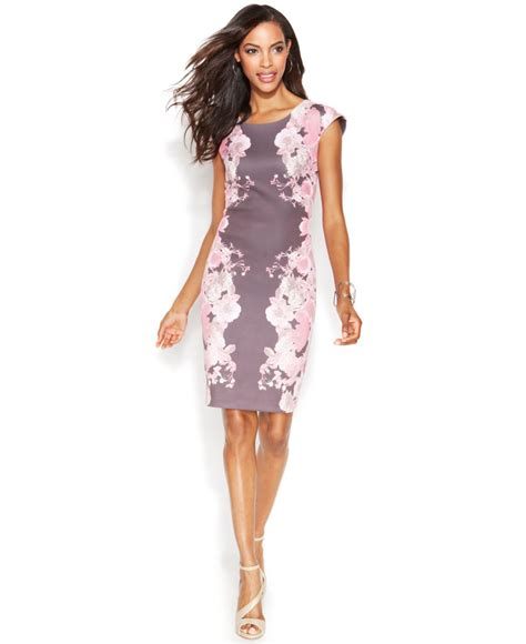 30263 Sleeve Floral Dress lyst inc international concepts cap sleeve floral print sheath dress in pink