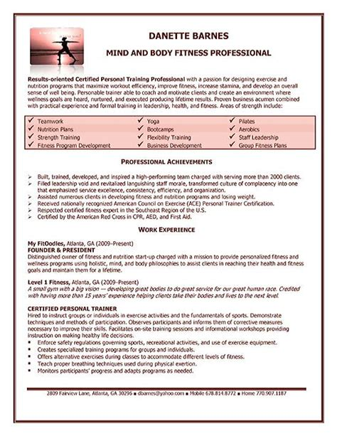 Job Resume: Personal Trainer Resume Examples Free Personal
