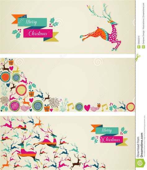 templates for christmas banners merry christmas elements template web banners set stock