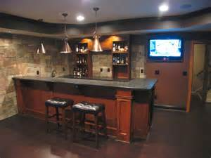 custom basement bar with veneer on the walls