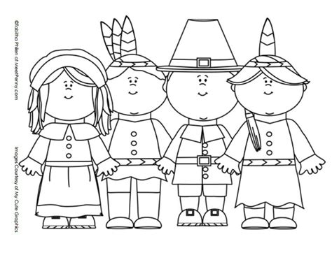 thanksgiving pilgrims and indians coloring page color