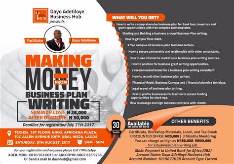 seminar making money from business plan writing in nigeria
