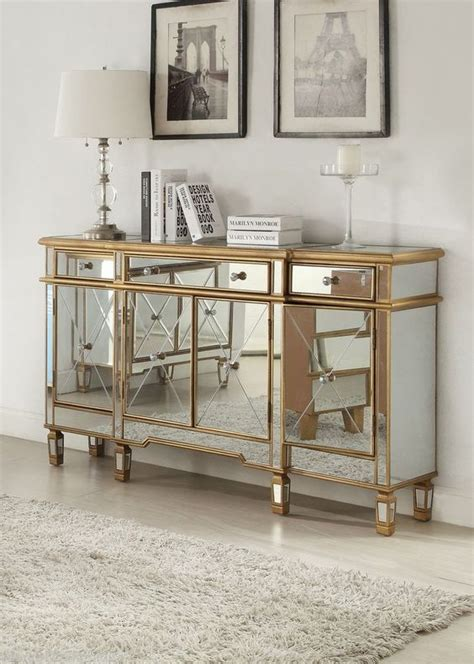 regency mirrored console cabinet dresser table