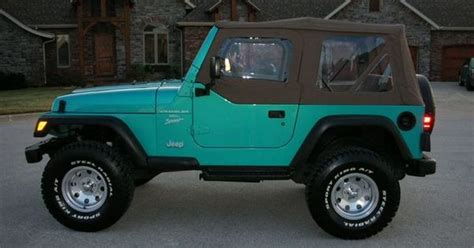 white and teal jeep beautiful 1994 teal wrangler i just teal with black