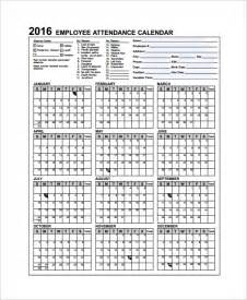 Employee Calendar Template by Sle Attendance Calendar Template 9 Free Documents