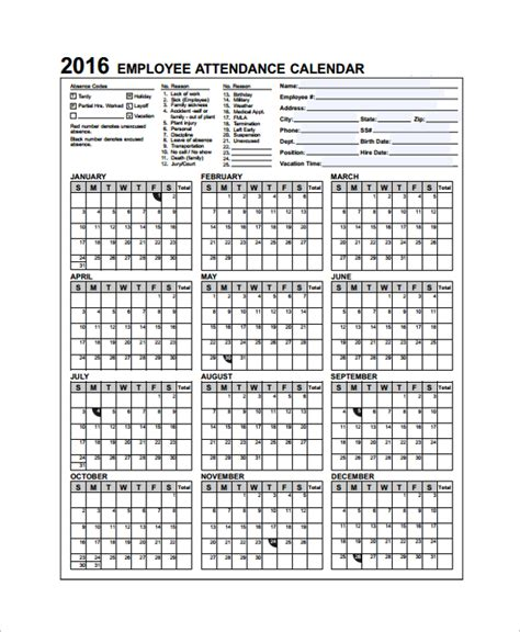 sle attendance calendar template 9 free documents