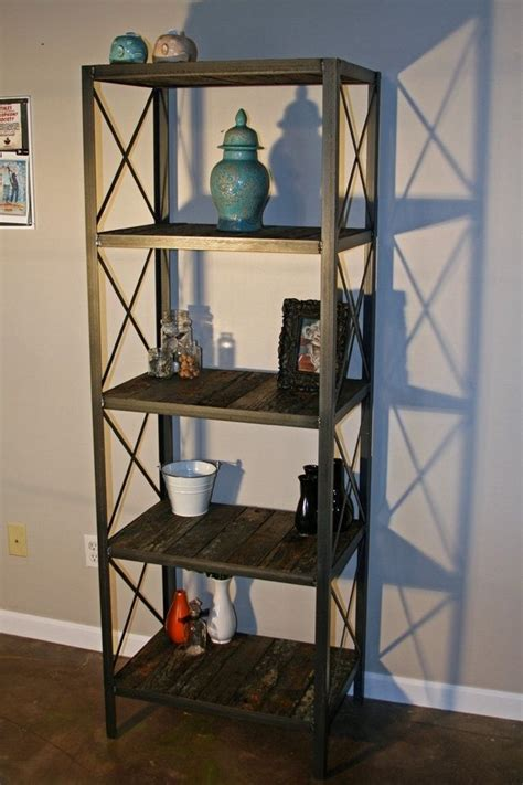 buy a custom made industrial rustic bookcase shelving unit
