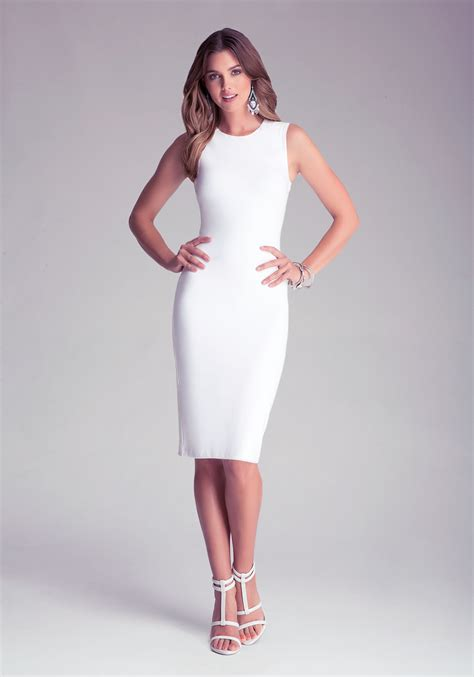 bebe bodycon midi dress in white lyst