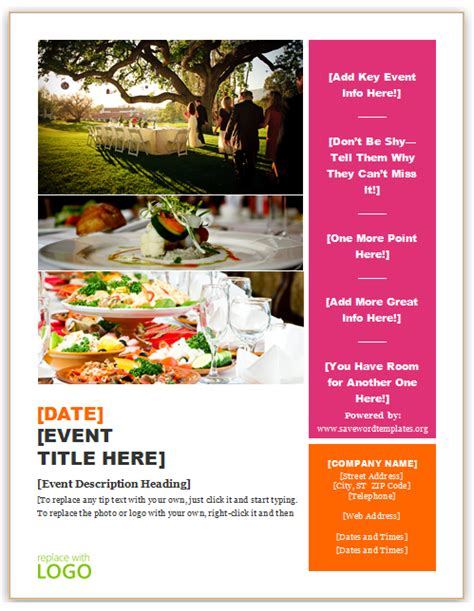 save word templates catering flyer template
