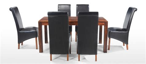 cube dining set with leather chairs cube sheesham 160 cm dining table and 6 chairs quercus
