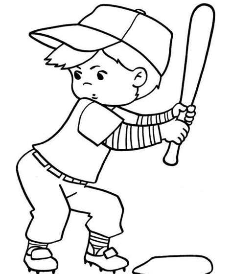 coloring page of boy playing baseball baseball pictures for kids cliparts co