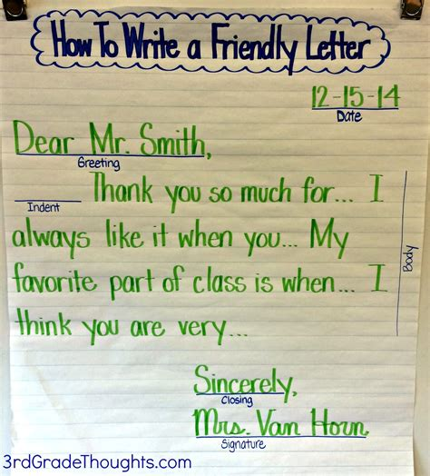 Thank You Letter Format 3rd Grade Friendly Letter Writing With Rack Friendly Letter Anchor Charts And Thoughts