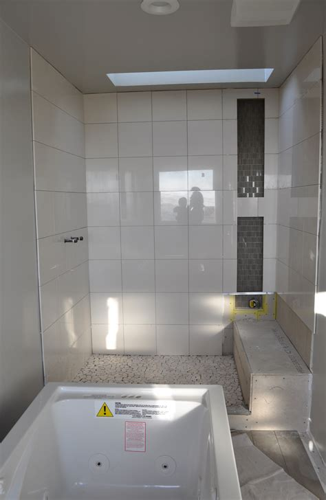 monochromatic gray mosaic subway tiles shower space wall bathroom update on the surface fixer with a view