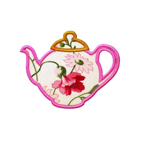 embroidery applique designs teapot machine embroidery design applique pattern in 6 sizes
