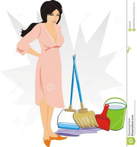 imagenes graciosas limpiando la casa mujer con el conjunto de los objetos para limpiar