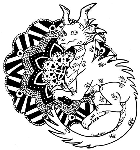 dragon mandala coloring pages color me dragon mandala by theleatherdragoni on deviantart