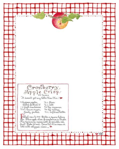 printable recipe stationery free susan branch apple crisp stationery paper creations