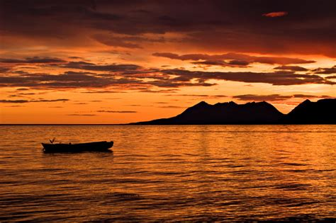 Landscape Sunset Picture Of Rowboat And Beautiful Sunset In Northern
